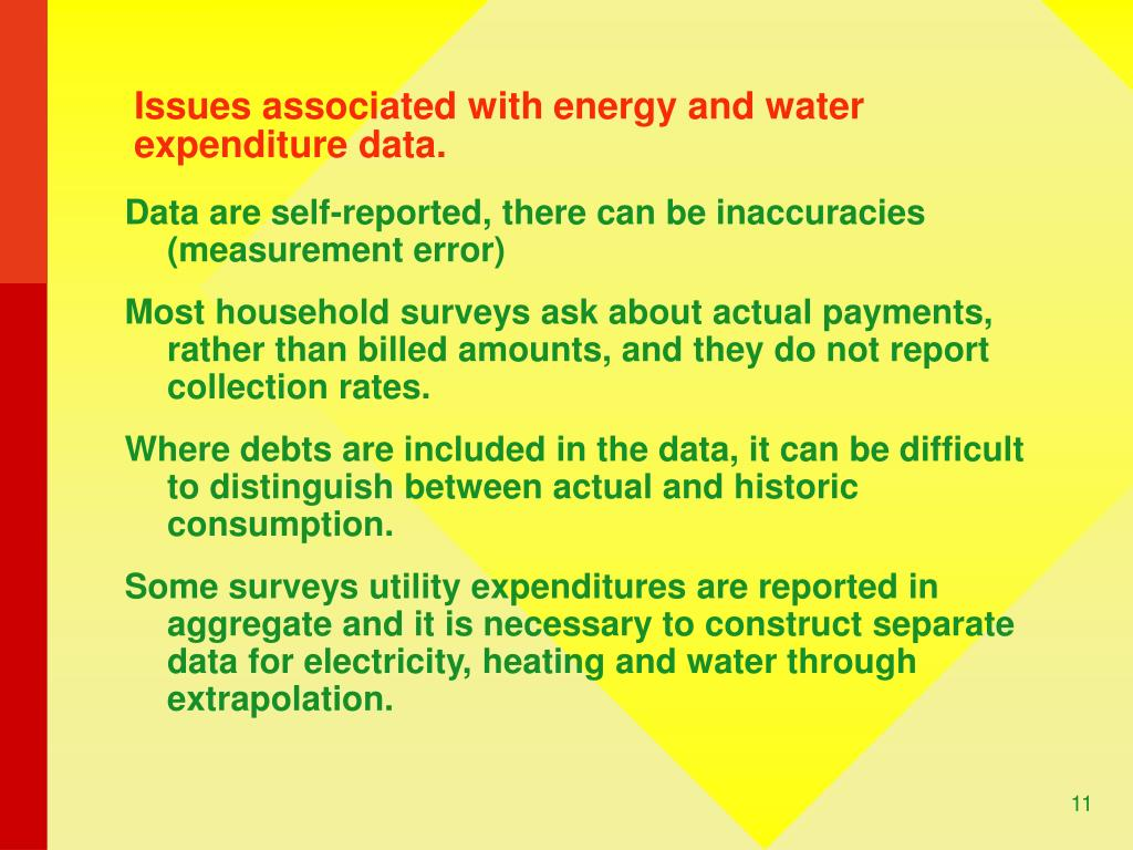 Issues associated with energy and water expenditure data.