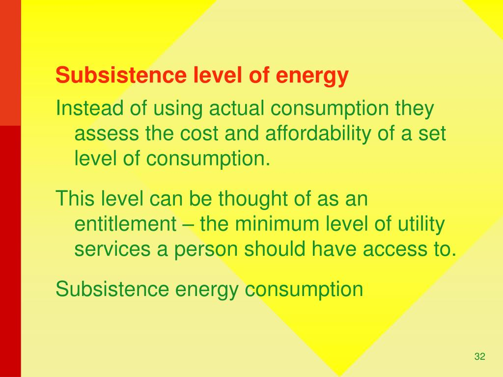 Subsistence level of energy