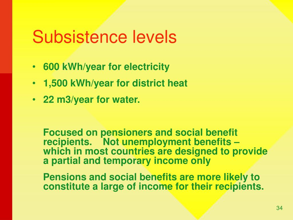 Subsistence levels