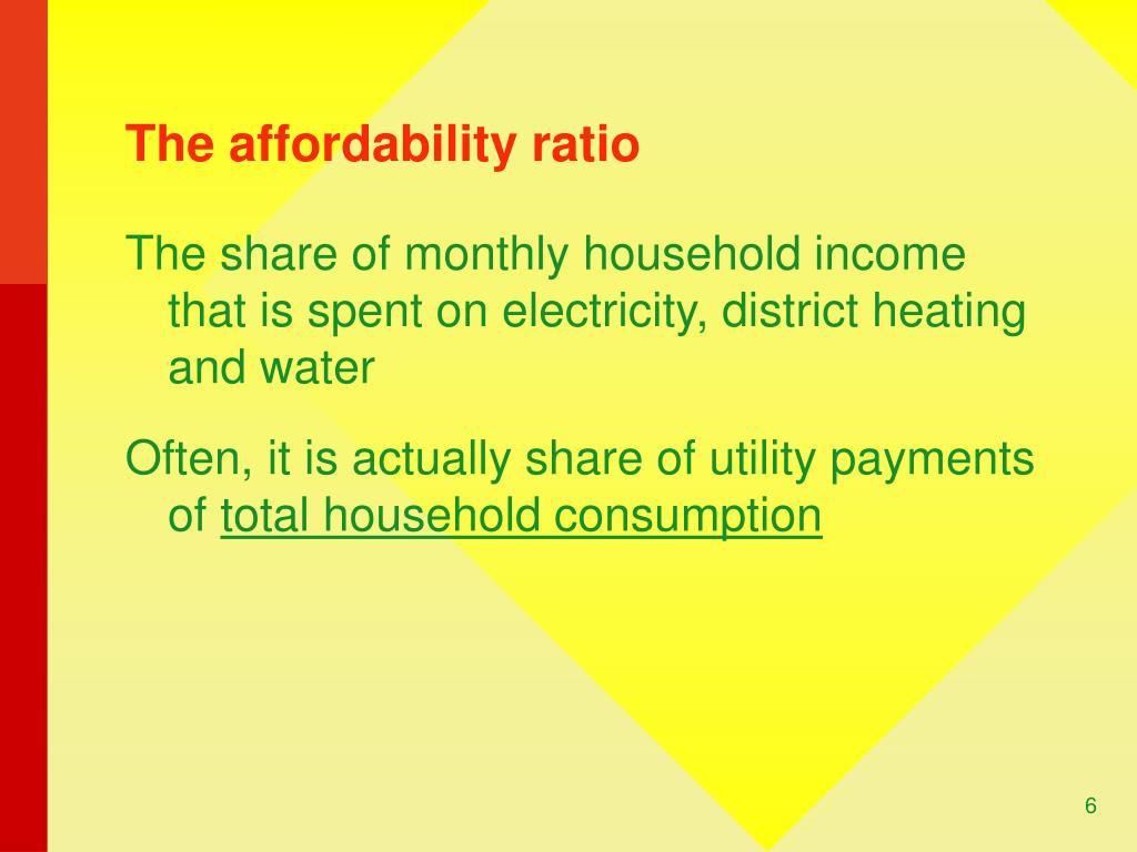 The affordability ratio
