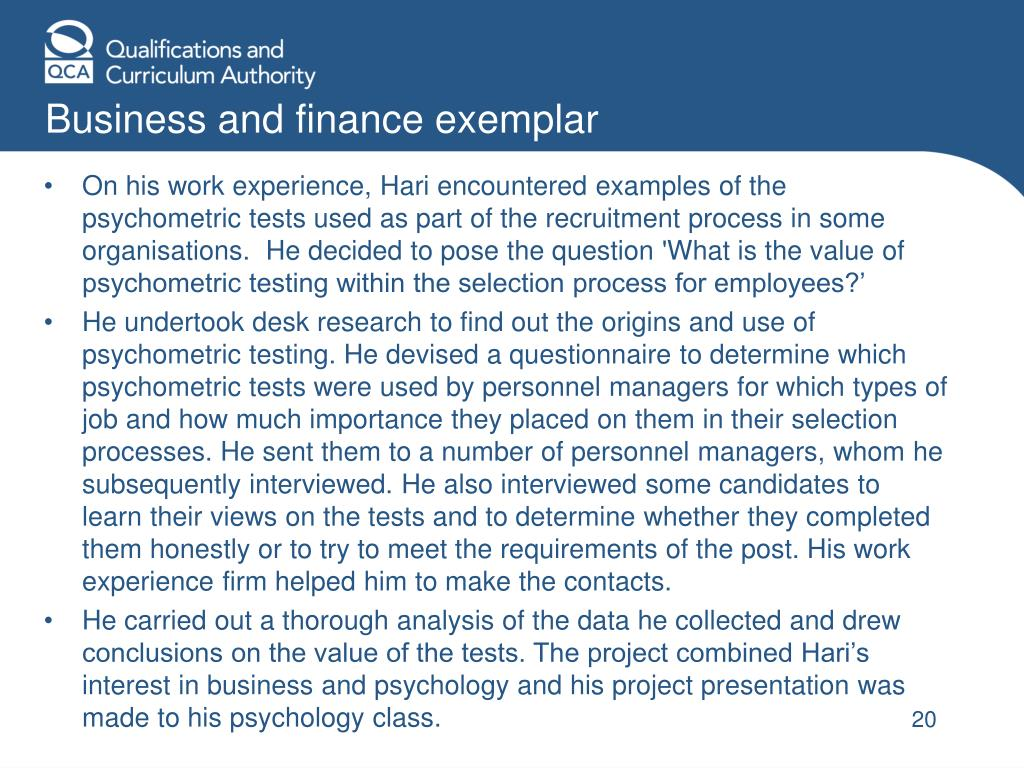 Business and finance exemplar
