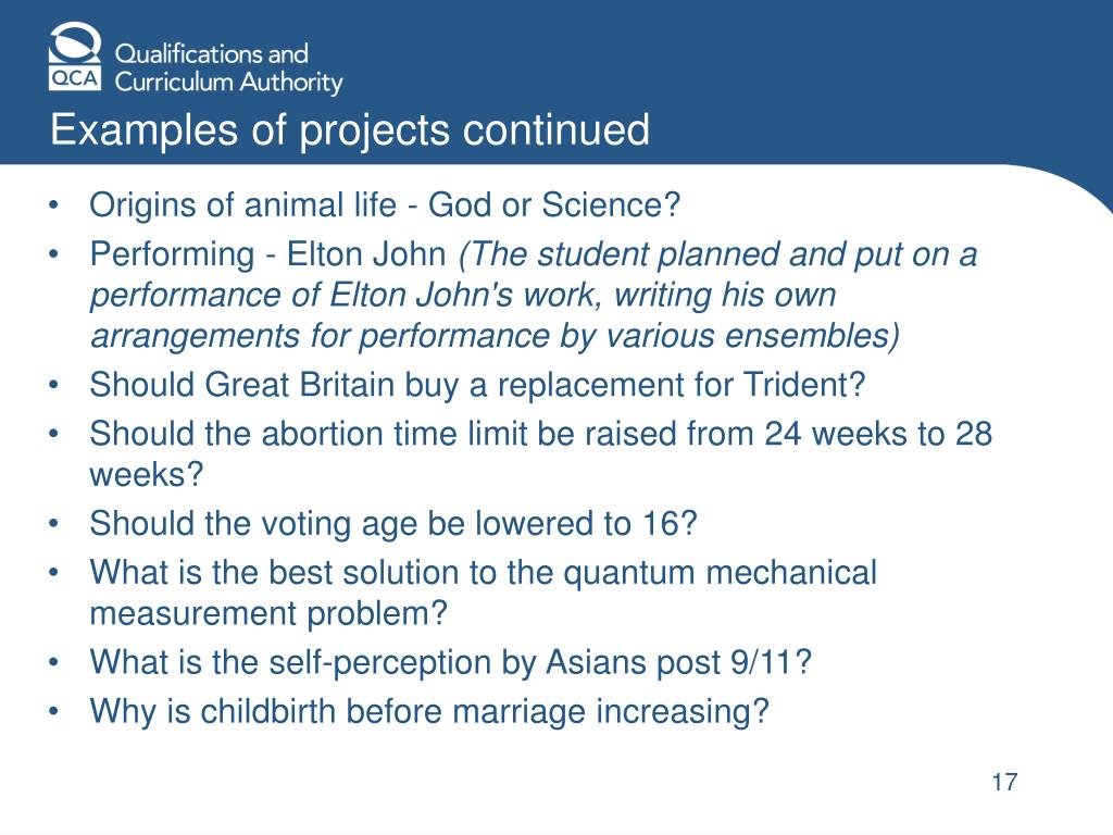 Examples of projects continued
