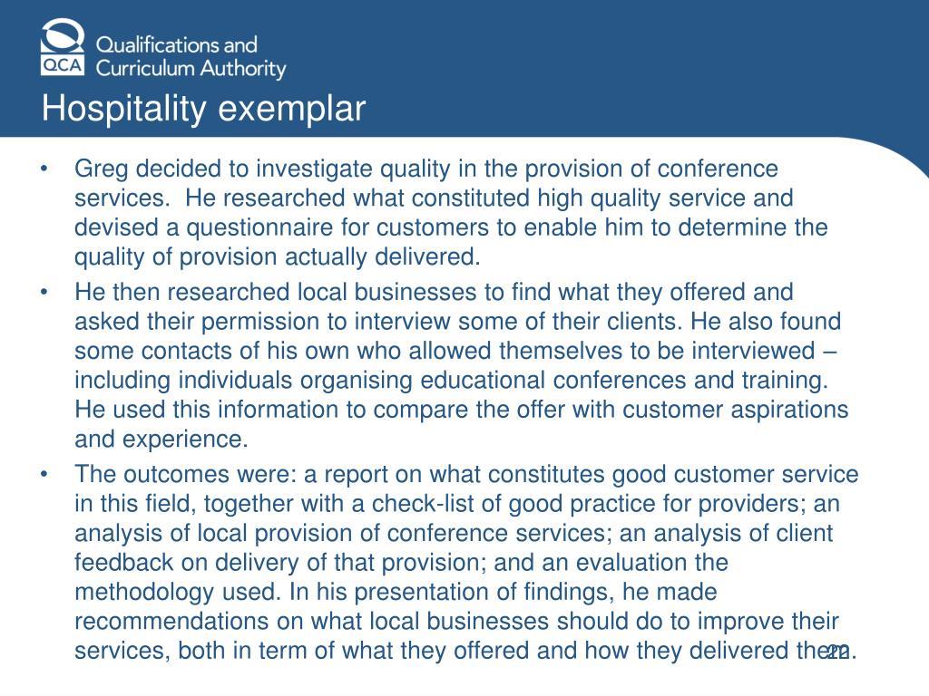 Hospitality exemplar