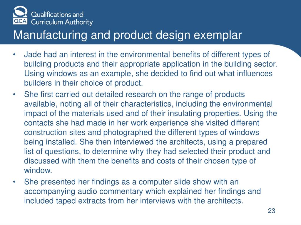 Manufacturing and product design exemplar