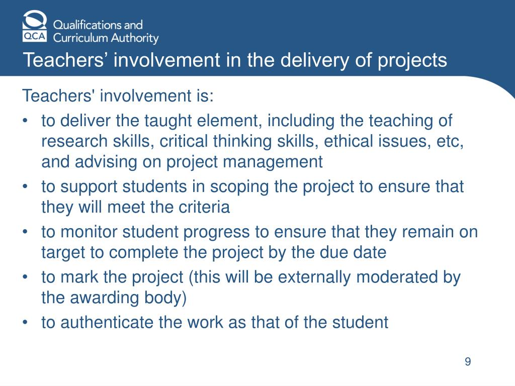 Teachers' involvement in the delivery of projects