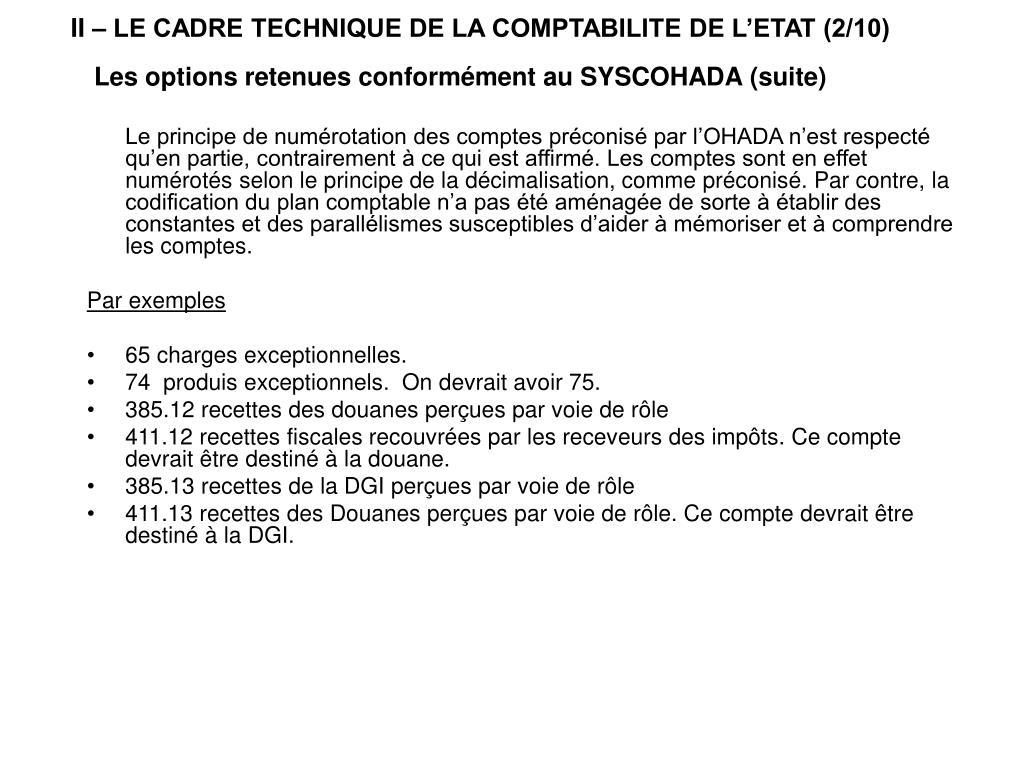 II – LE CADRE TECHNIQUE DE LA COMPTABILITE DE L'ETAT (2/10)