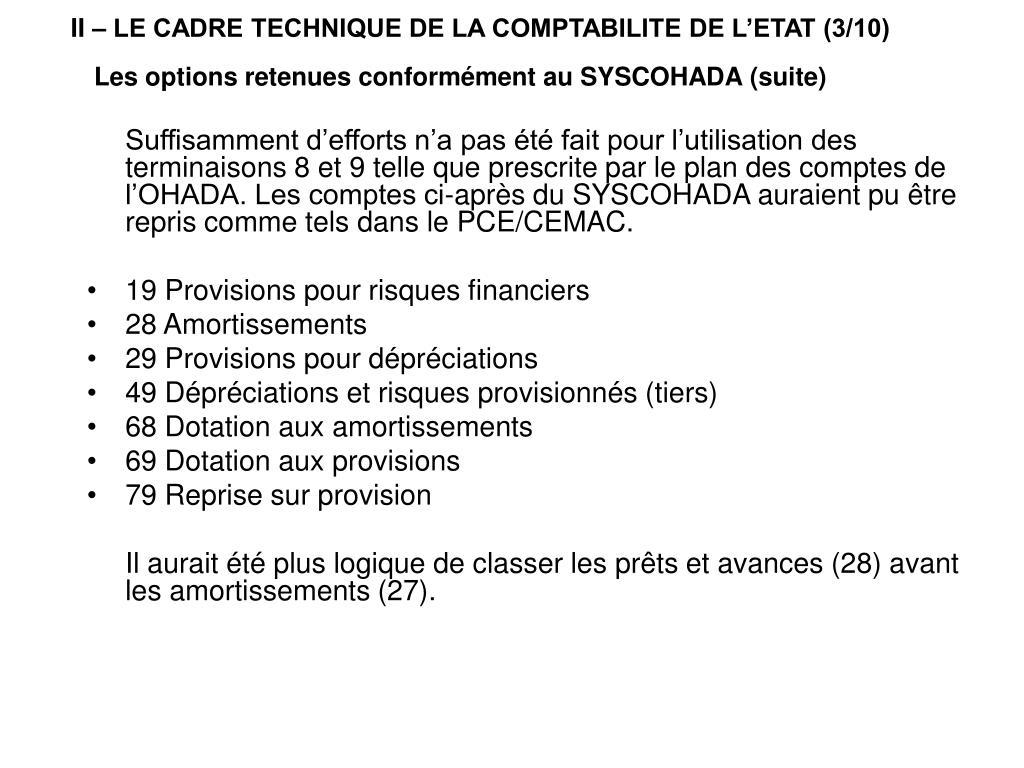 II – LE CADRE TECHNIQUE DE LA COMPTABILITE DE L'ETAT (3/10)