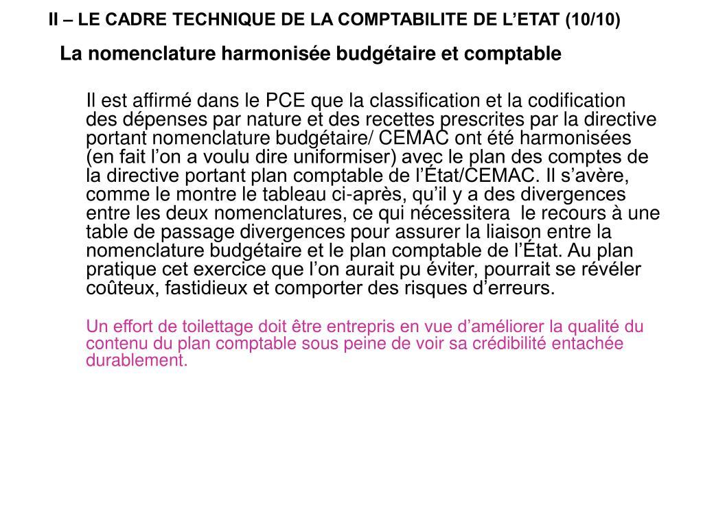 II – LE CADRE TECHNIQUE DE LA COMPTABILITE DE L'ETAT (10/10)