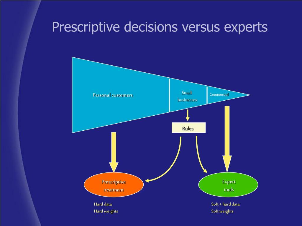 Prescriptive decisions versus experts