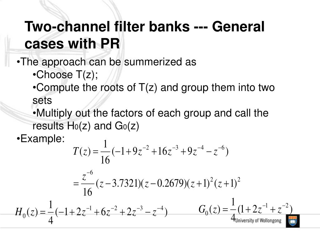 Two-channel filter banks --- General cases with PR