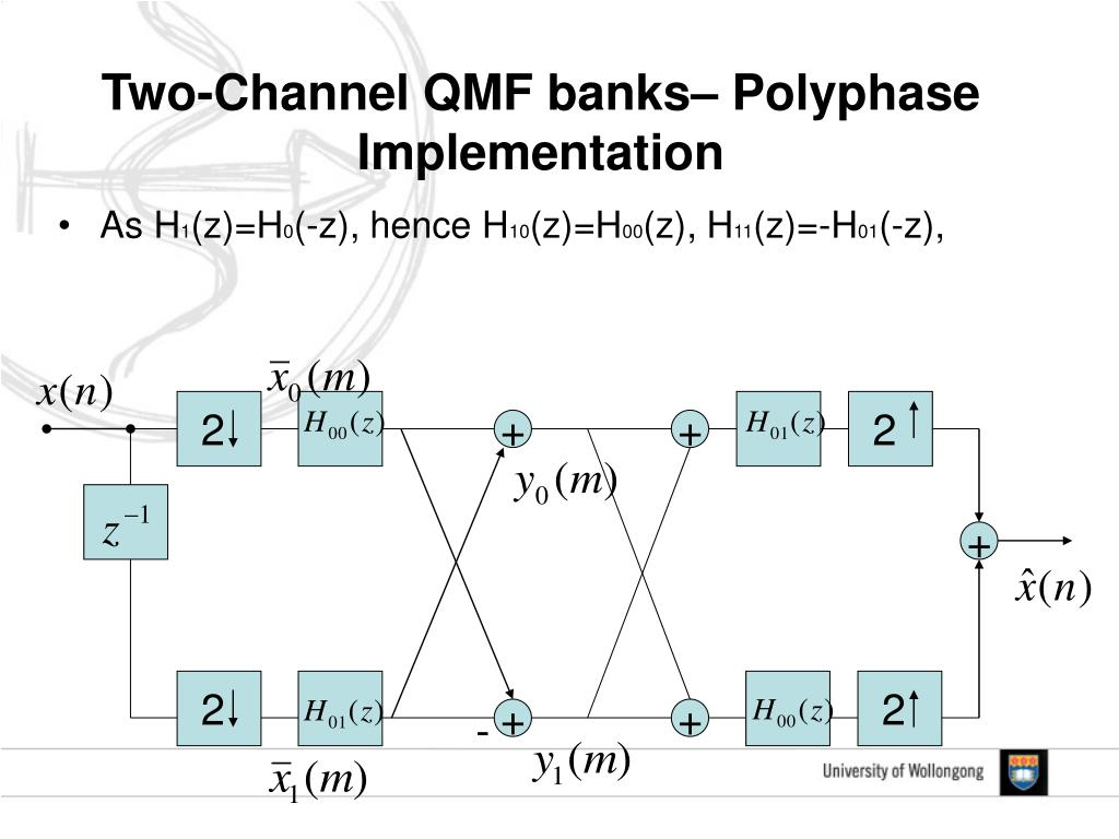 Two-Channel QMF banks– Polyphase Implementation