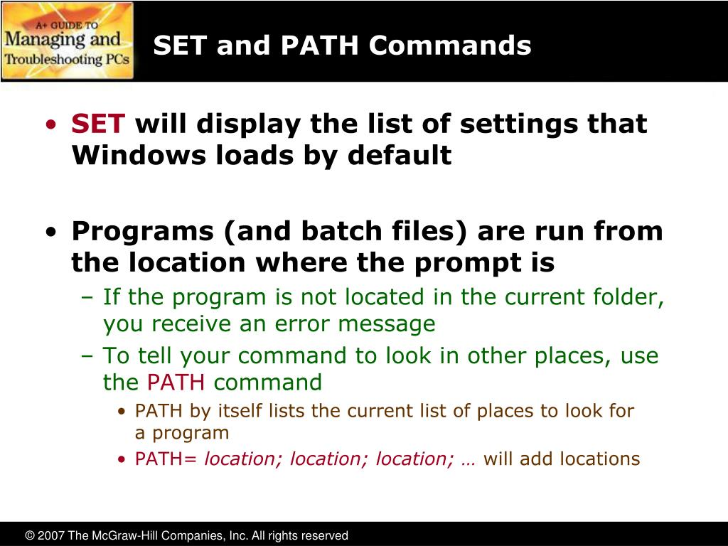 SET and PATH Commands