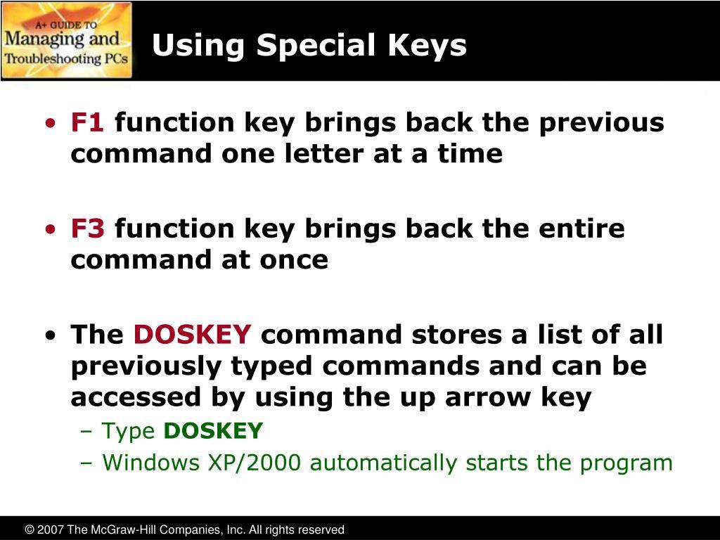 Using Special Keys
