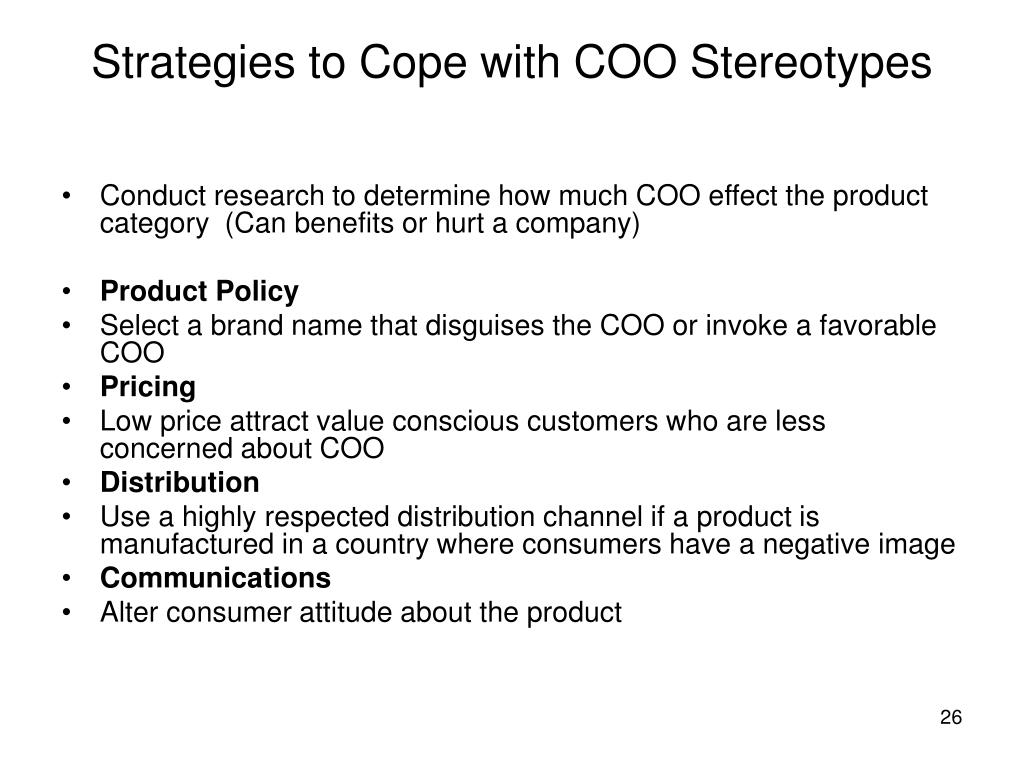 Strategies to Cope with COO Stereotypes
