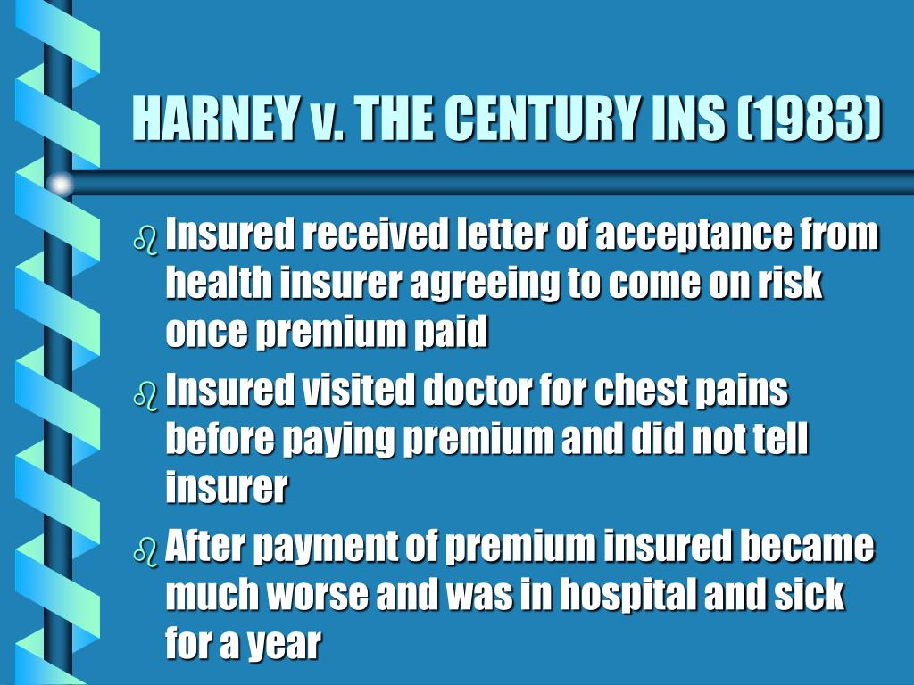 HARNEY v. THE CENTURY INS (1983)