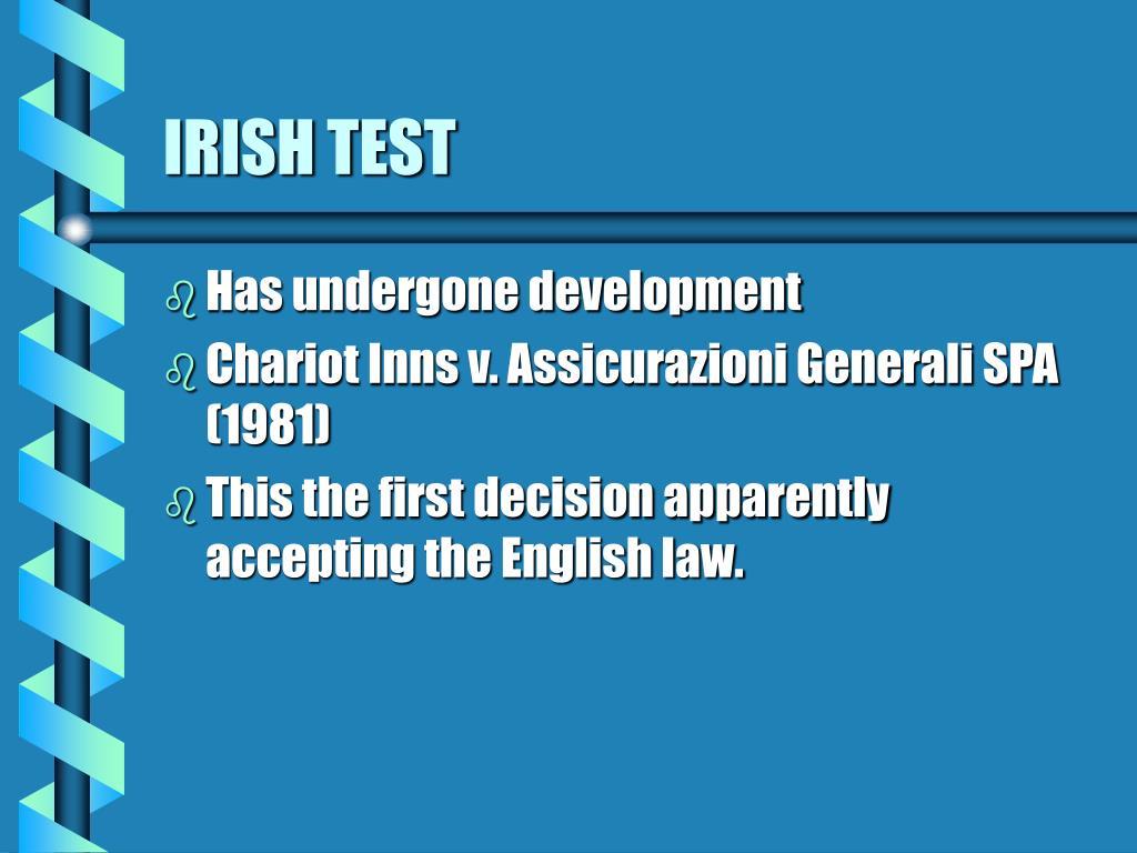 IRISH TEST