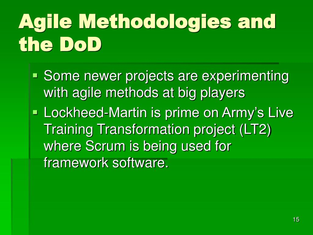 Agile Methodologies and the DoD