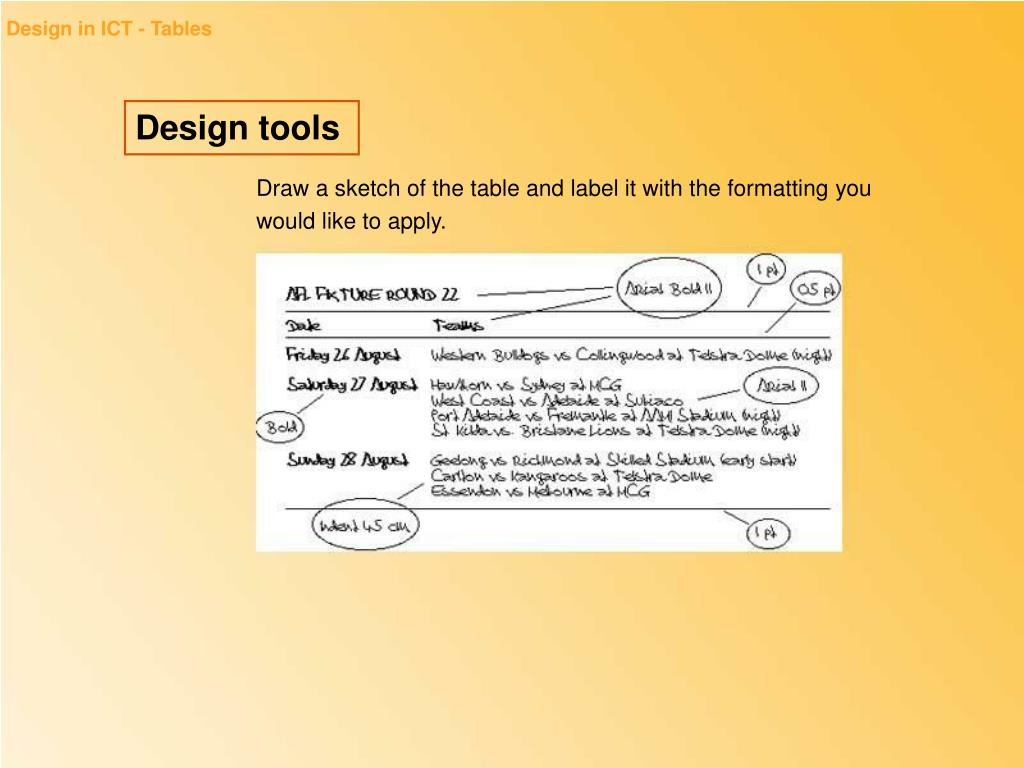 Design in ICT - Tables