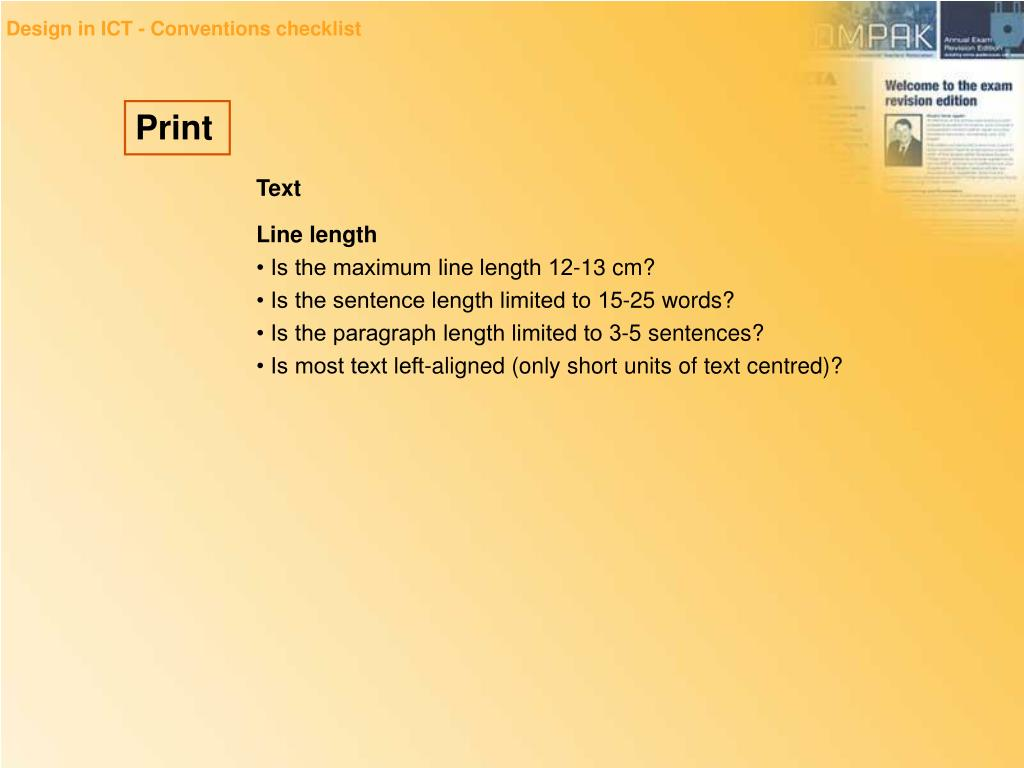 Design in ICT - Conventions checklist
