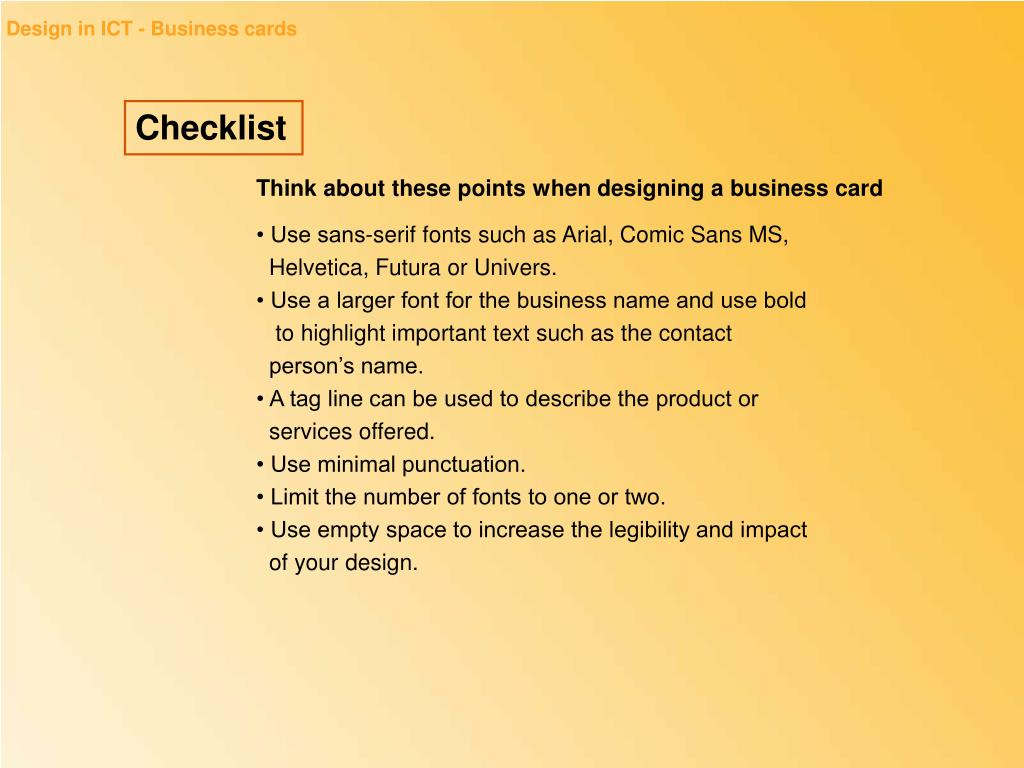 Design in ICT - Business cards