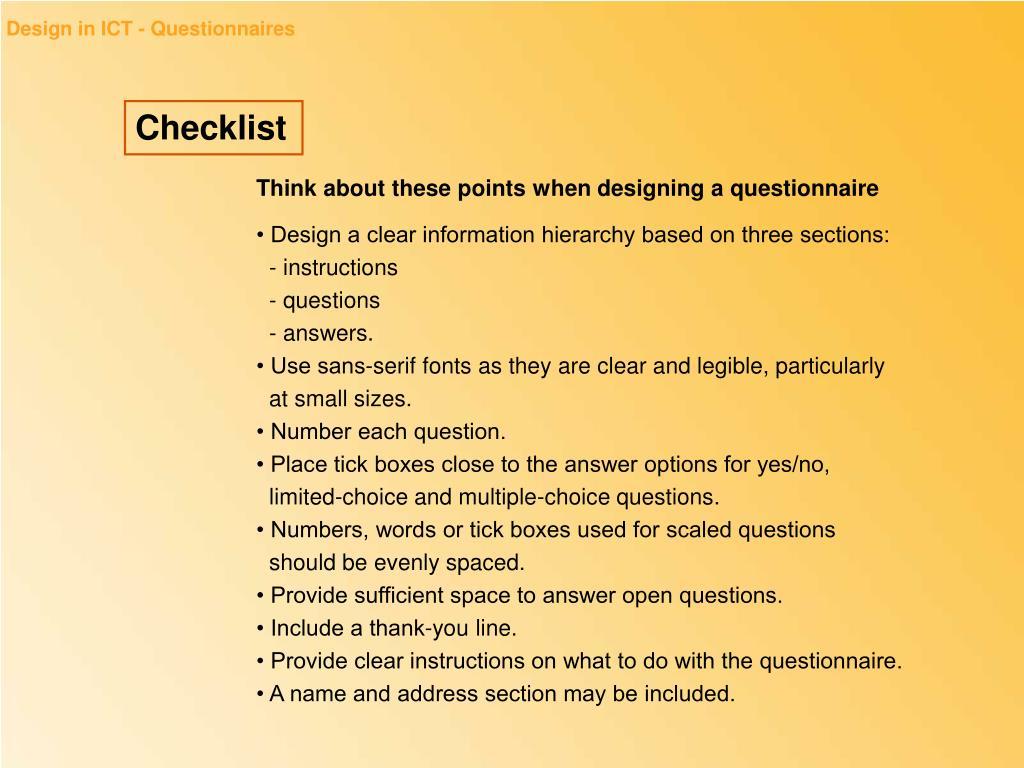 Design in ICT - Questionnaires