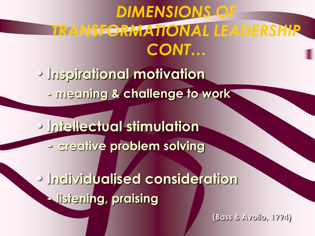DIMENSIONS OF TRANSFORMATIONAL LEADERSHIP CONT…