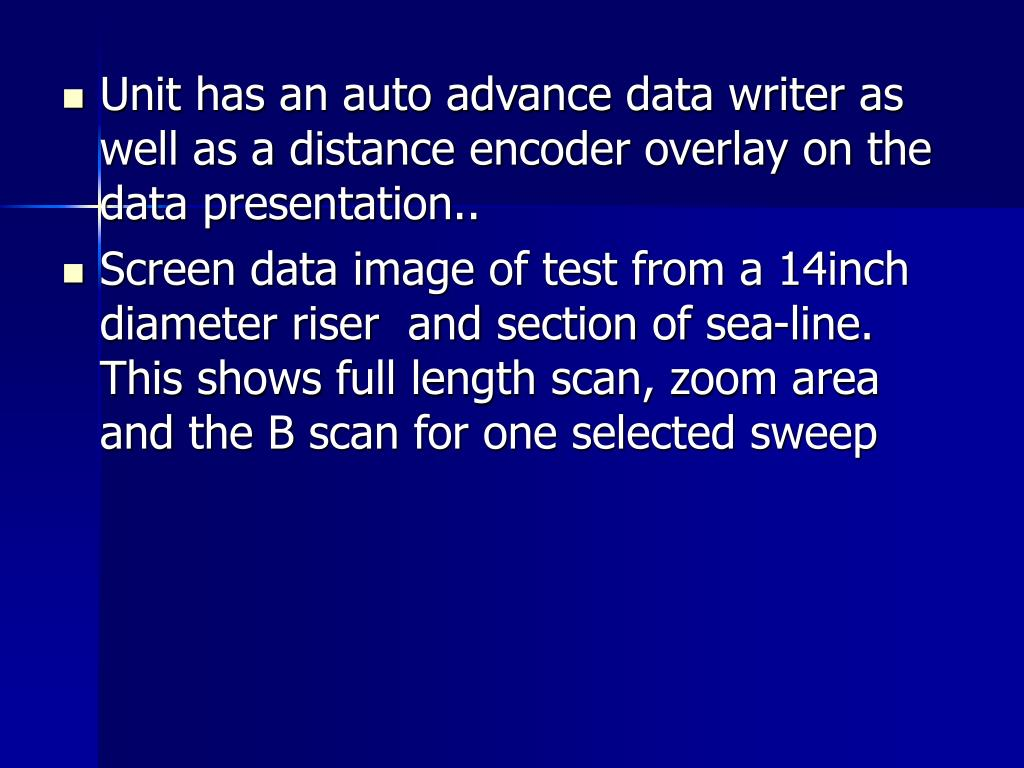 Unit has an auto advance data writer as well as a distance encoder overlay on the data presentation..