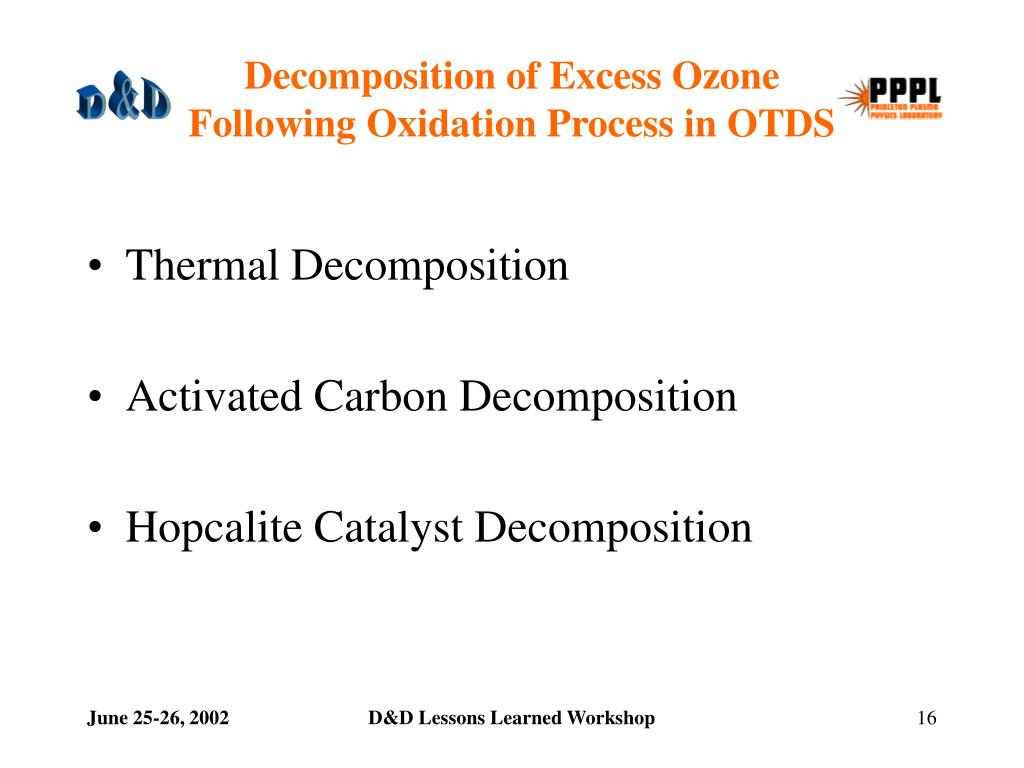 Decomposition of Excess Ozone                          Following Oxidation Process in OTDS