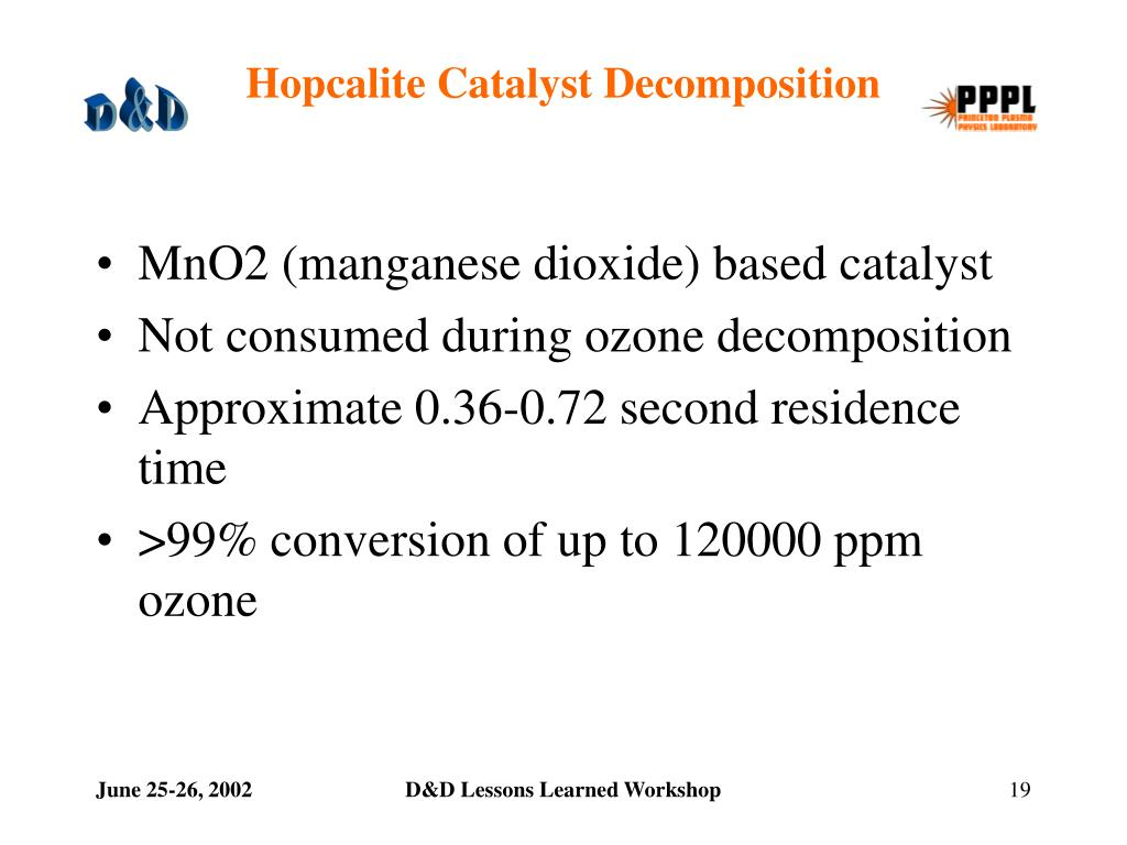 Hopcalite Catalyst Decomposition