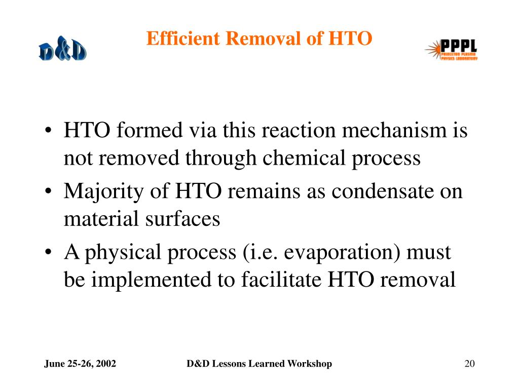 Efficient Removal of HTO