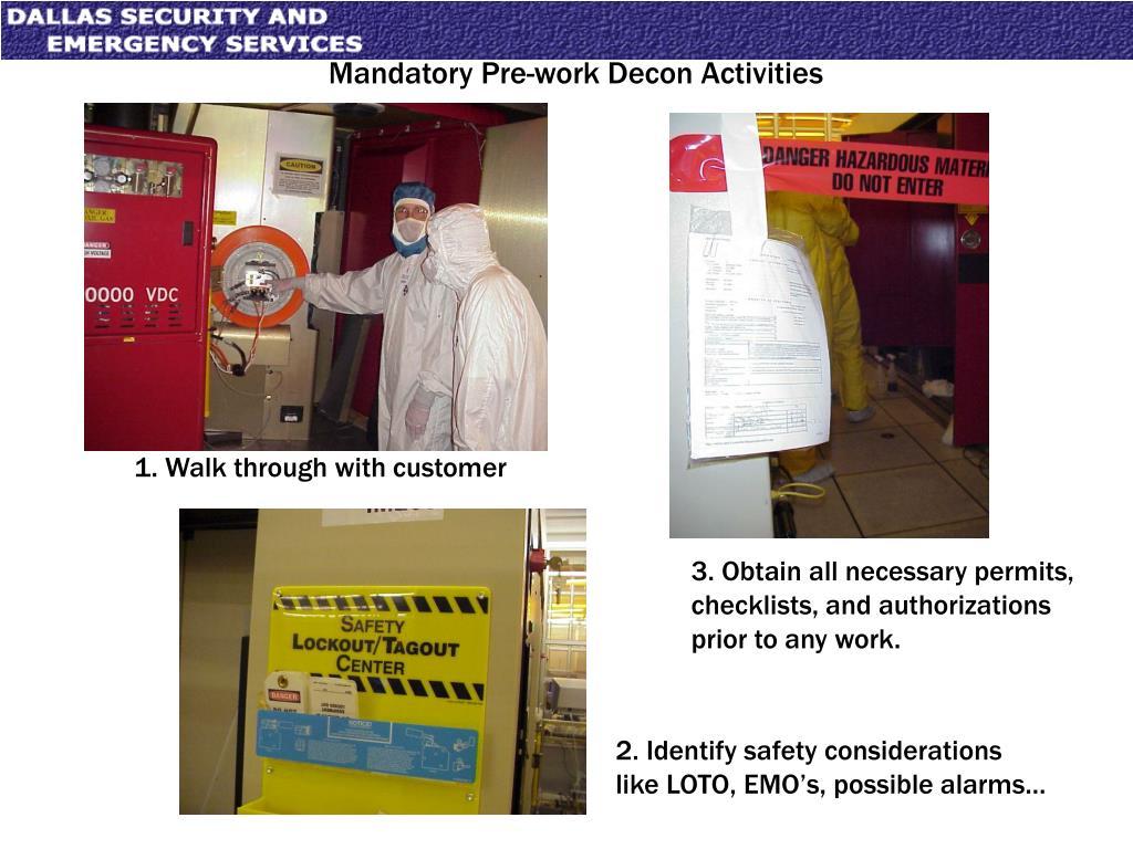 Mandatory Pre-work Decon Activities