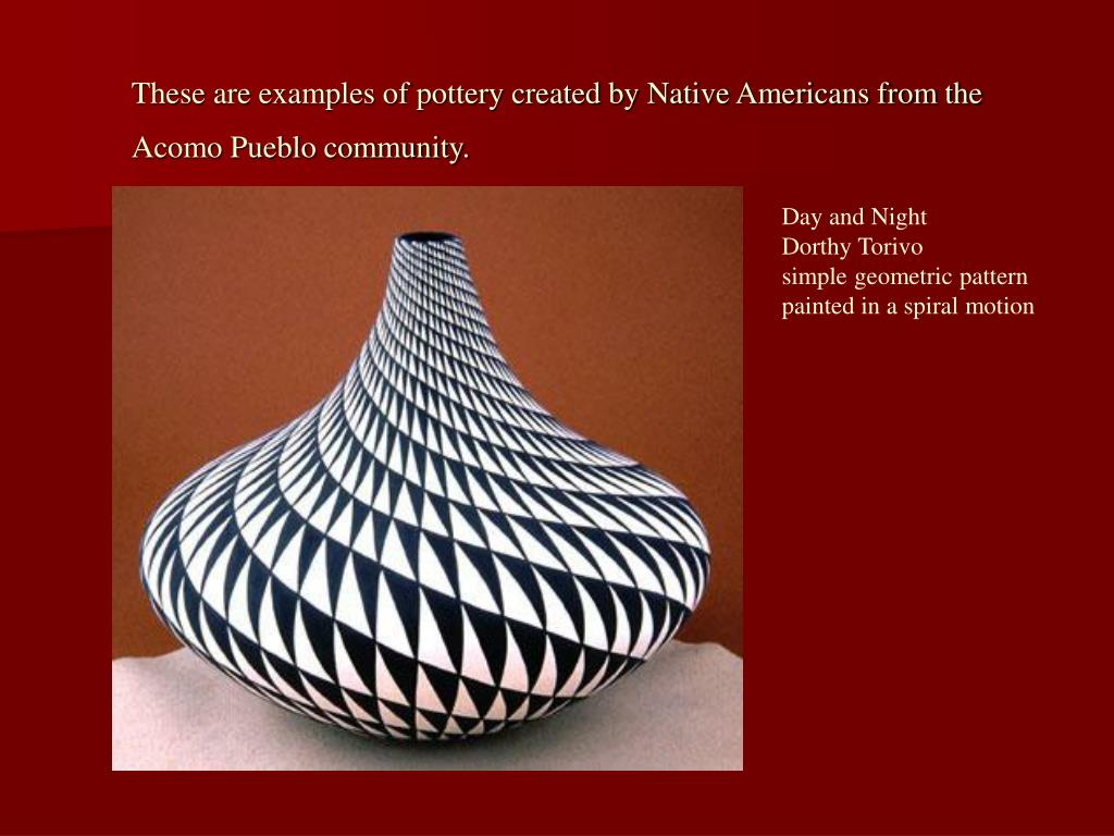 These are examples of pottery created by Native Americans from the Acomo Pueblo community.