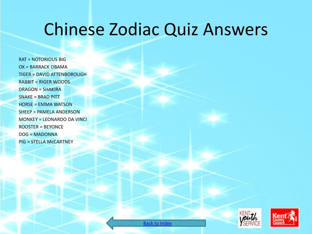 Chinese Zodiac Quiz Answers