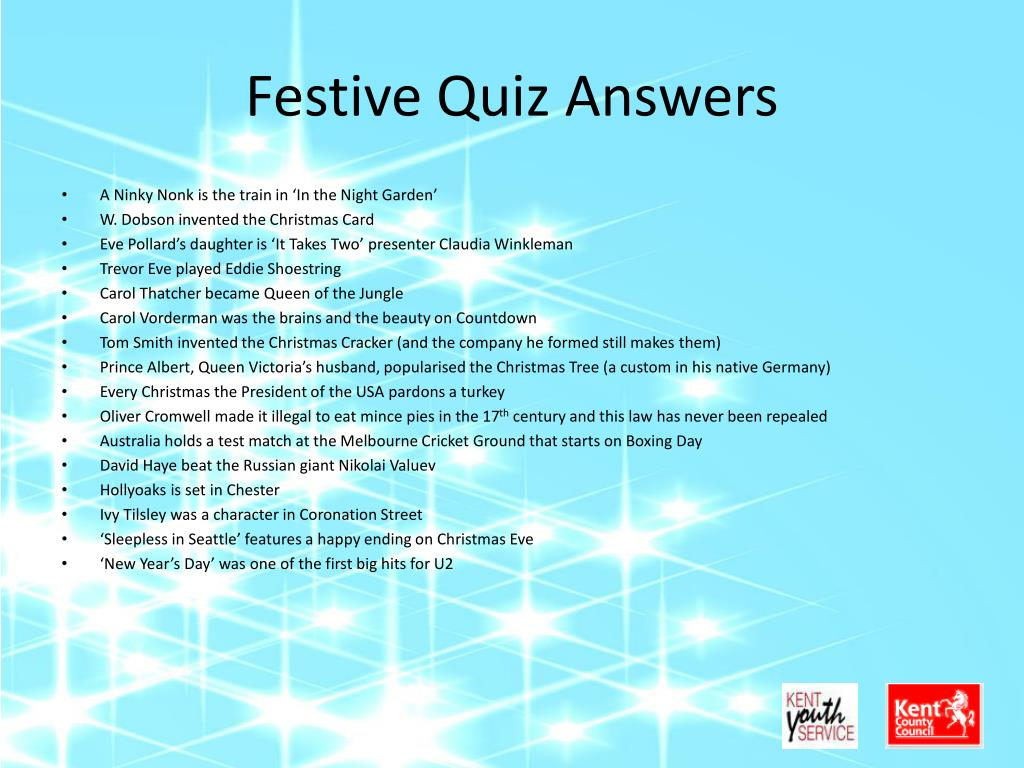 Festive Quiz Answers