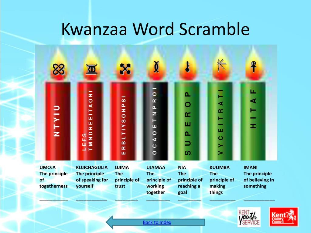 Kwanzaa Word Scramble
