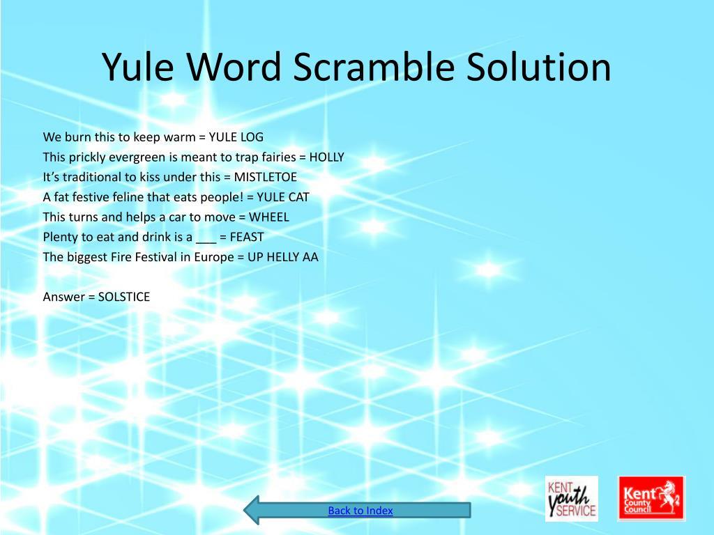Yule Word Scramble Solution