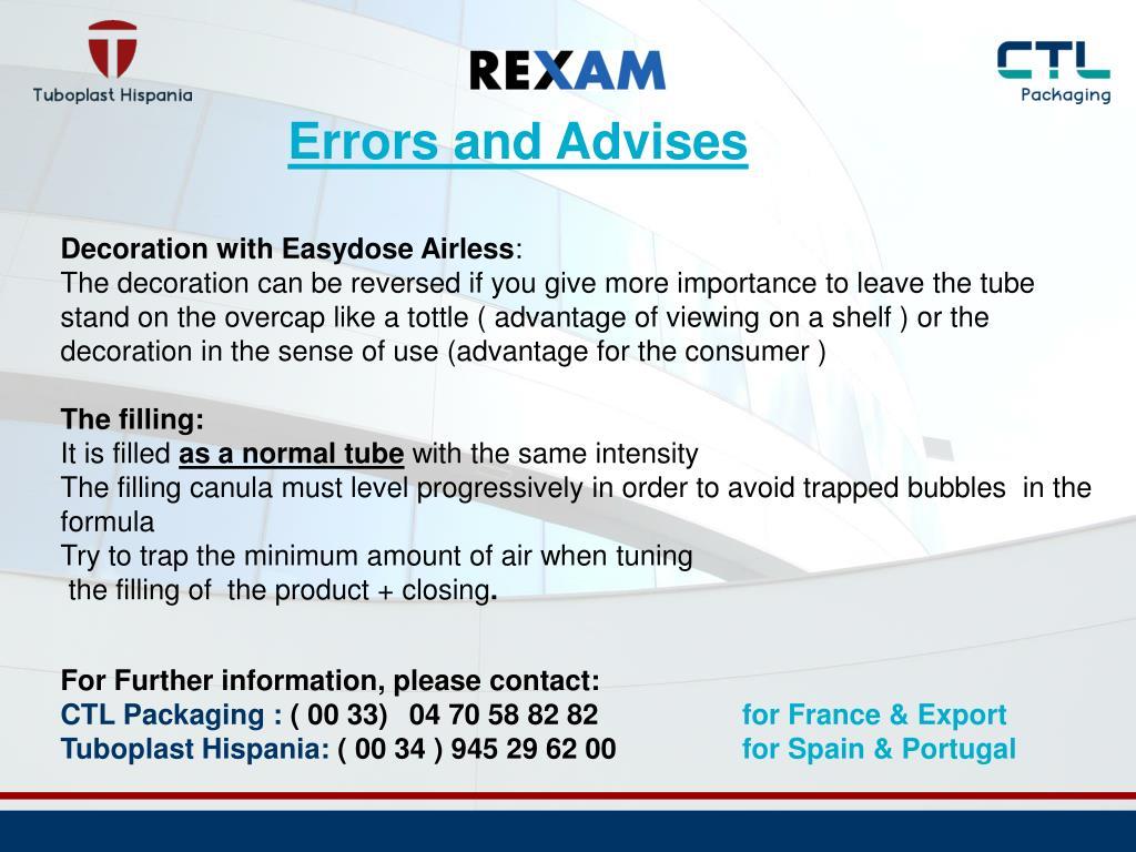 Errors and Advises