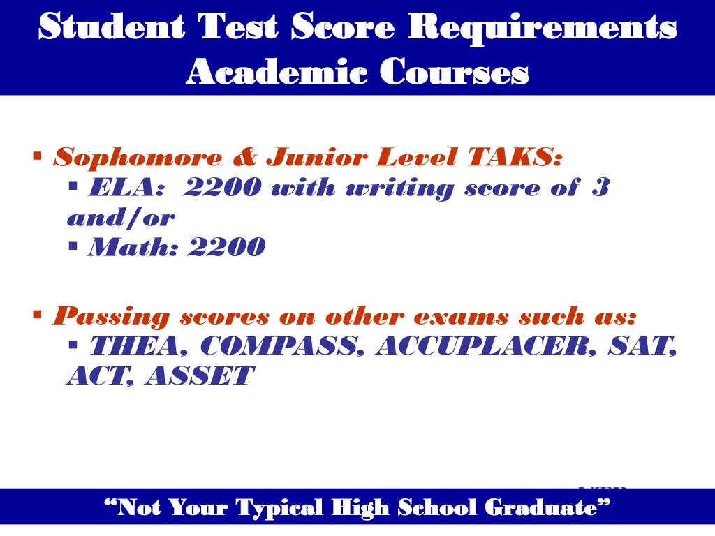 Student Test Score Requirements