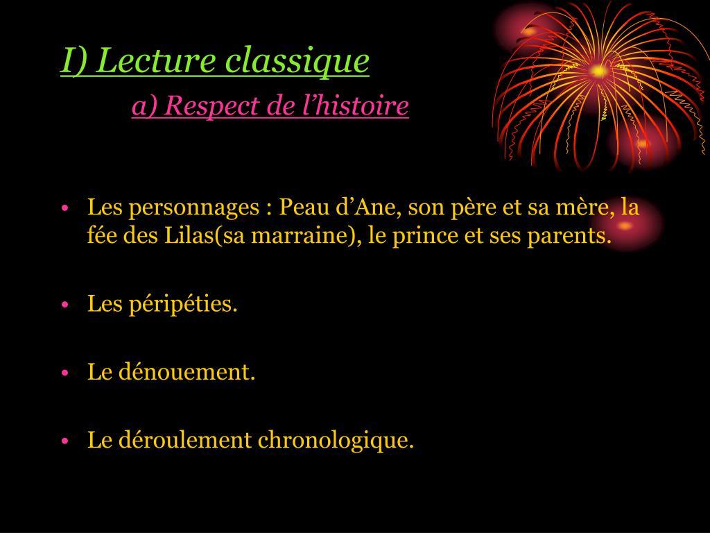 I) Lecture classique