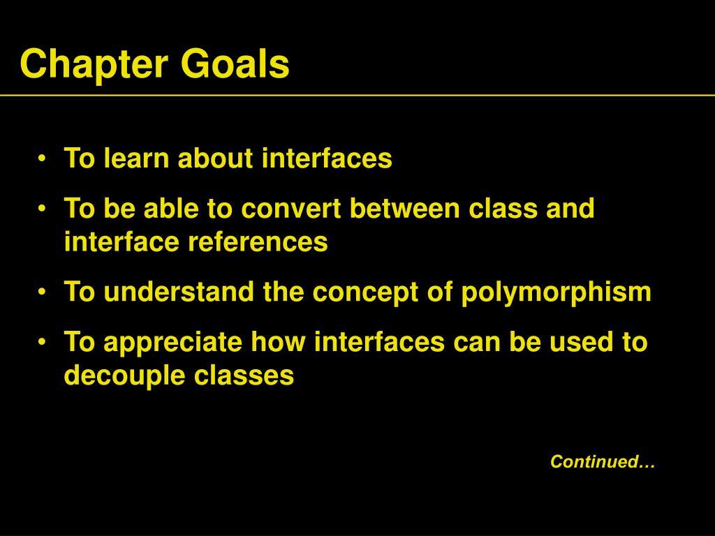 Chapter Goals