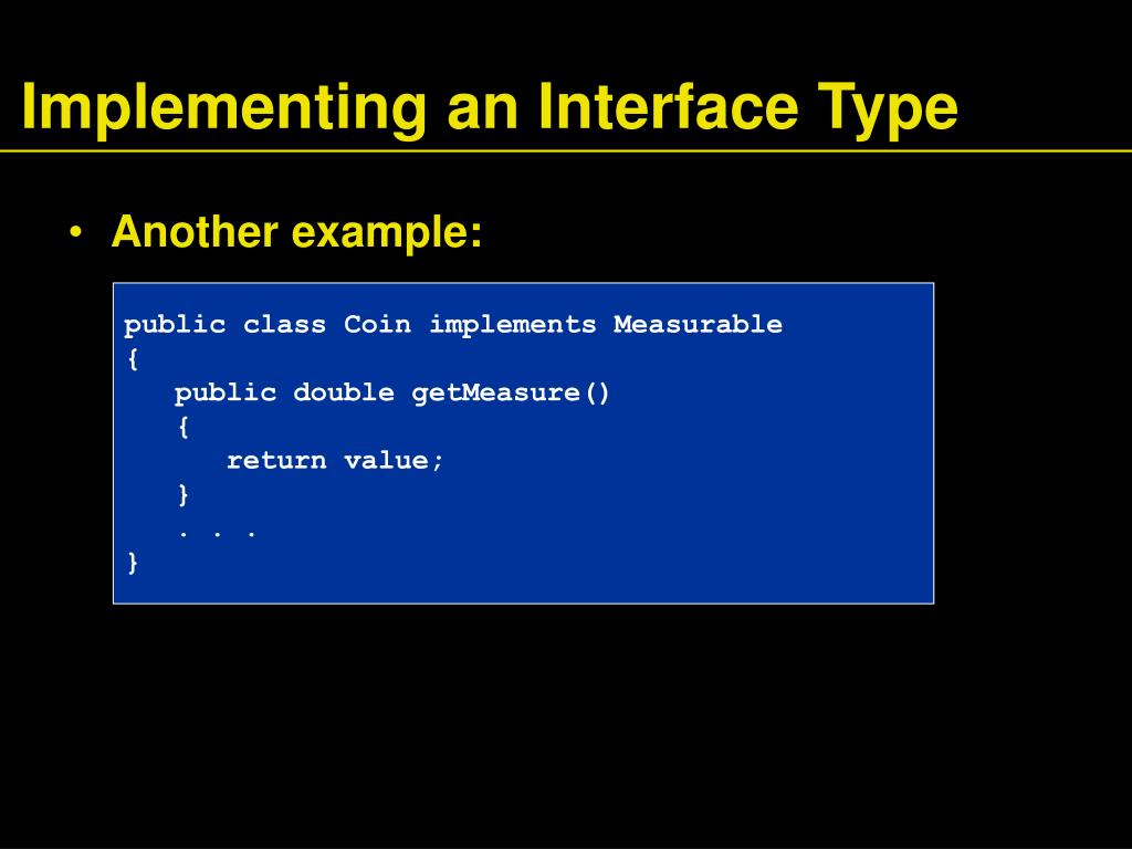 Implementing an Interface Type