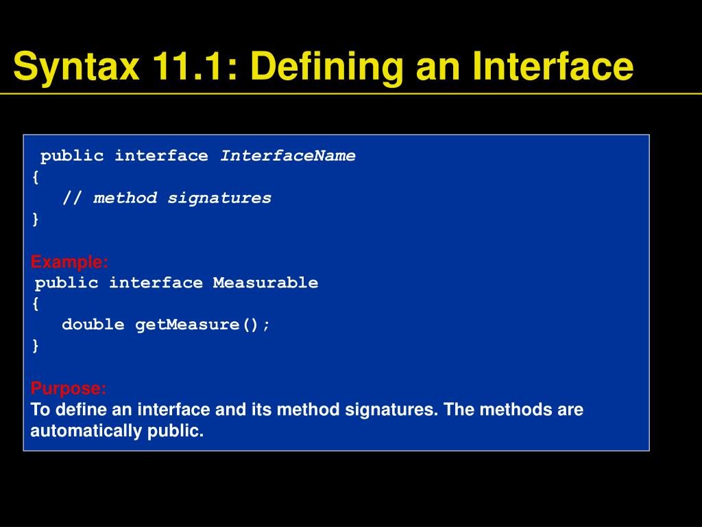 Syntax 11.1: Defining an Interface