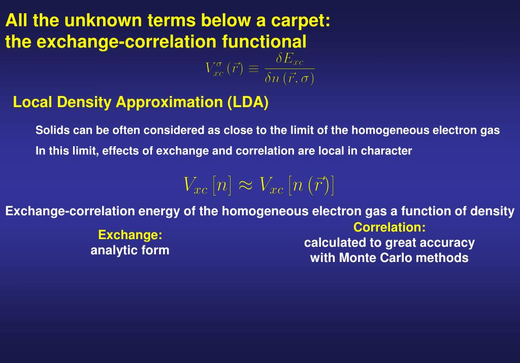All the unknown terms below a carpet: the exchange-correlation functional