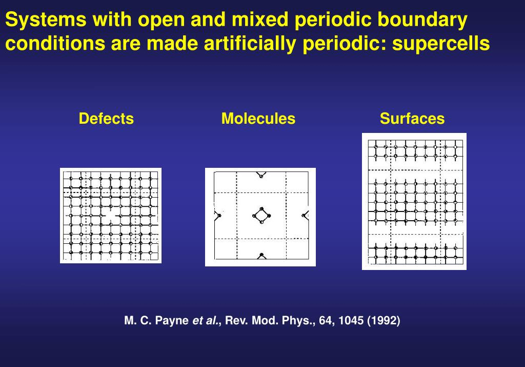 Systems with open and mixed periodic boundary conditions are made artificially periodic: supercells