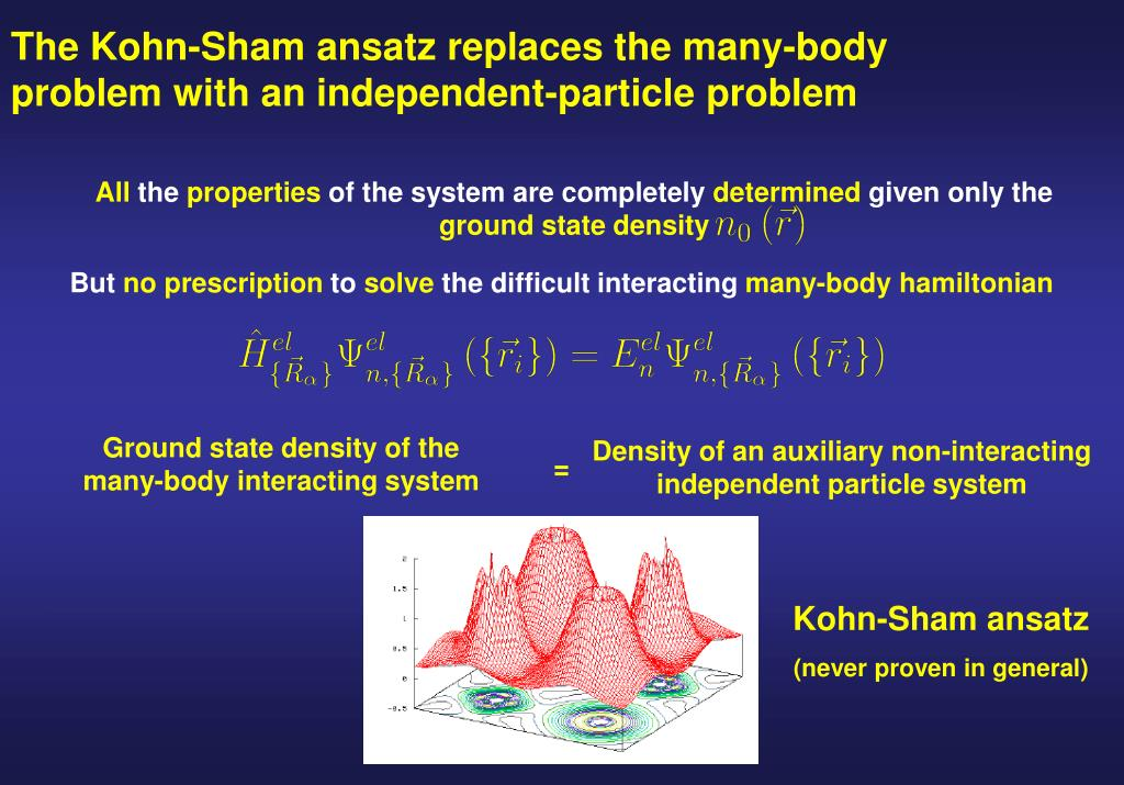 The Kohn-Sham ansatz replaces the many-body problem with an independent-particle problem