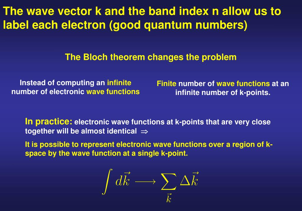 The wave vector k and the band index n allow us to label each electron (good quantum numbers)