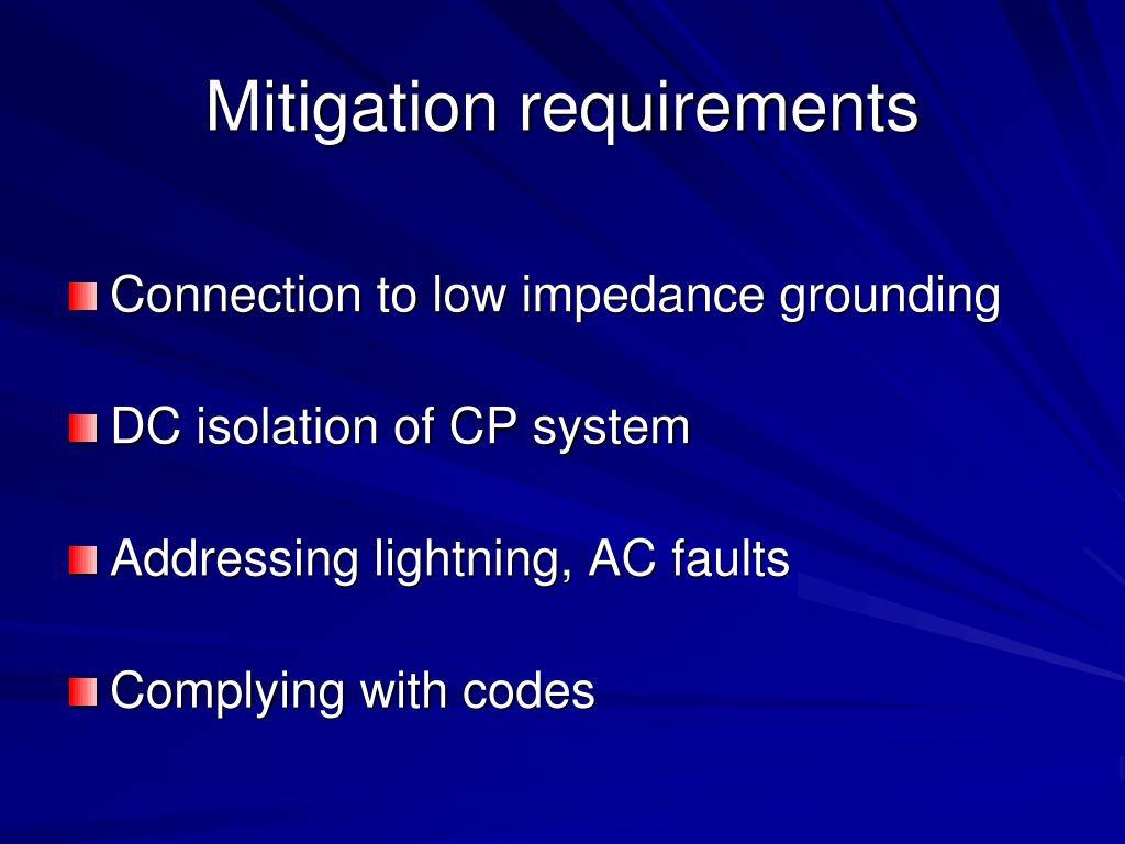 Mitigation requirements