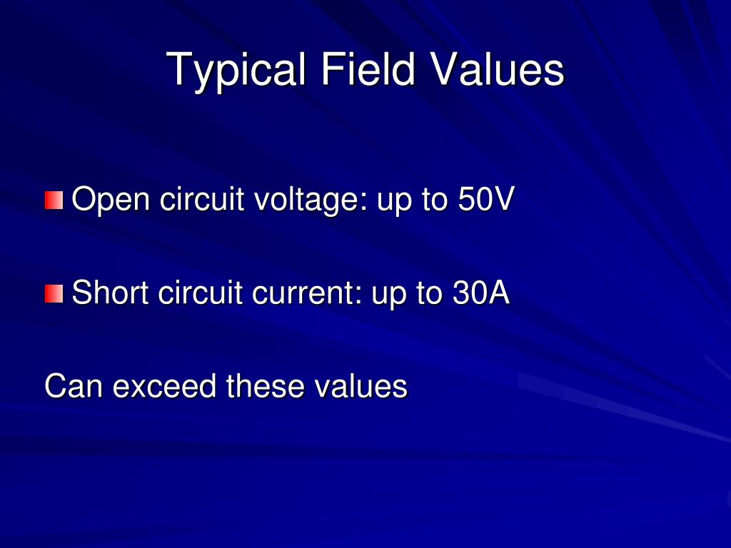 Typical Field Values