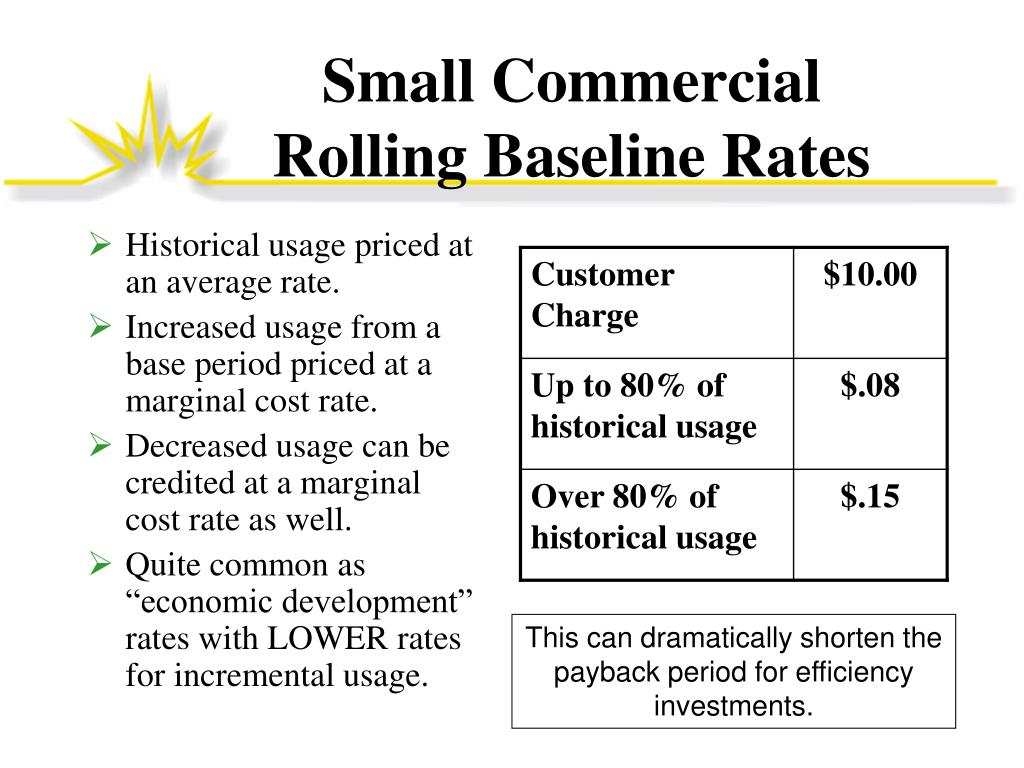Small Commercial   Rolling Baseline Rates