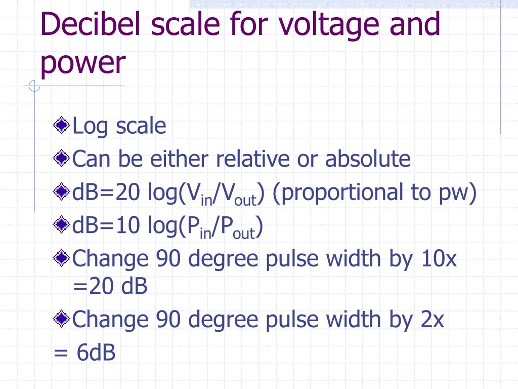 Decibel scale for voltage and power